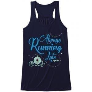 Always-running-late-ladies-flowy-tank-navy