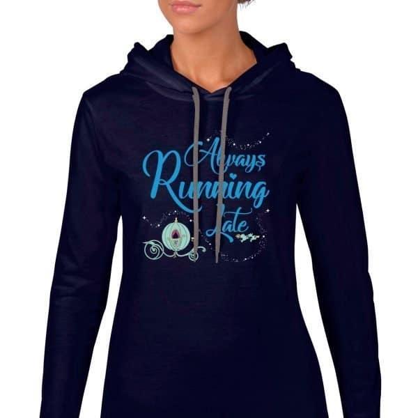 Always-running-late-ladies-lightweight-hoodie-navy