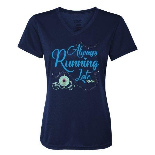 Always-running-late-ladies-performce-vneck-navy