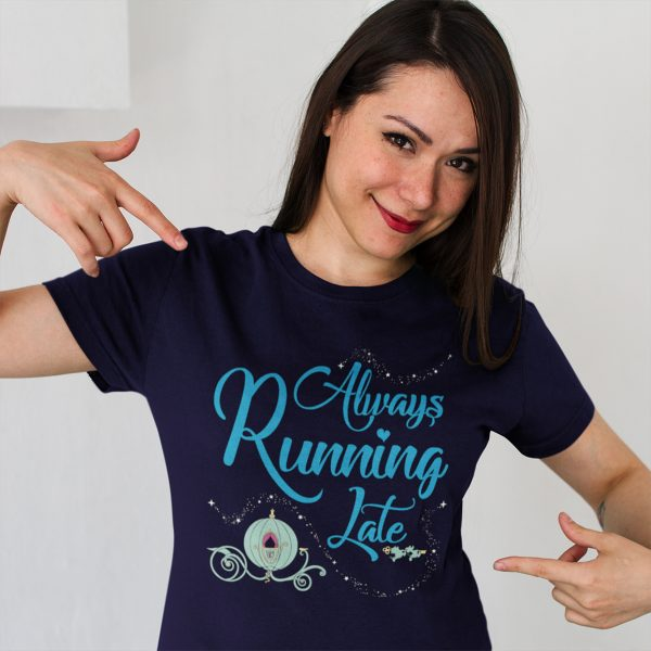 Always-running-late-unisex-cotton-poly-tee-model