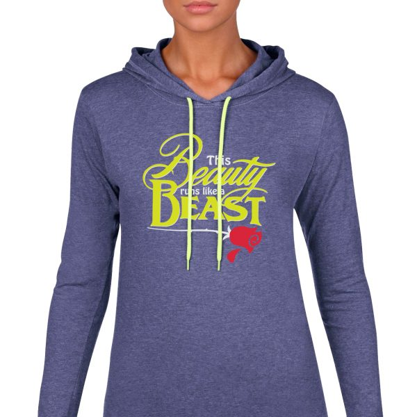 Beauty-Runs-like-a-beast-ladies-lightweight-hoodie-royal-blue