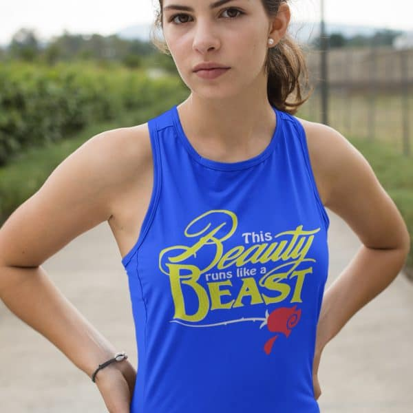 Beauty-Runs-like-a-beast-ladies-tank-model