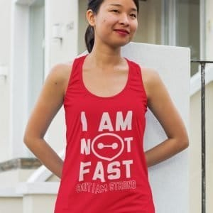 I-am-not-fast-ladies-flowy-tank-top-red-model