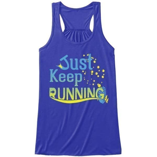 Just-keep-running-ladies-flowy-tank-royal-blue