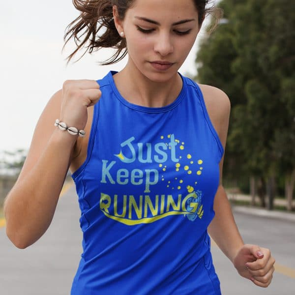 Just-keep-running-ladies-flowy-tank-royal-blue-model