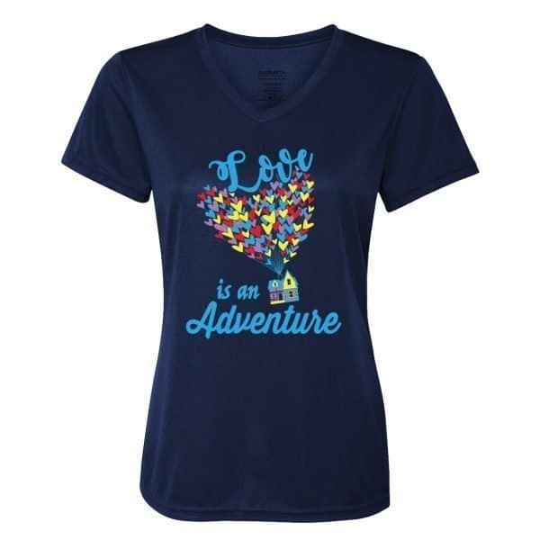 Love-is-an-adventure-ladies-performance-vneck-navy