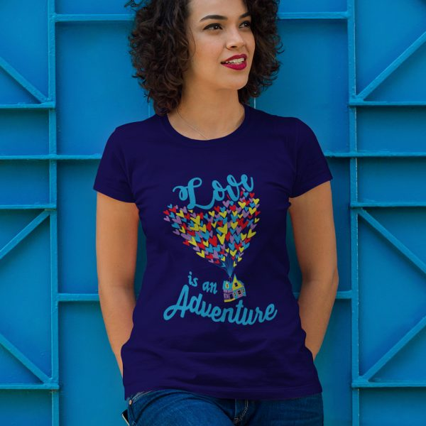Love-is-an-adventure-unisex-cotton-poly-crew-navy-model