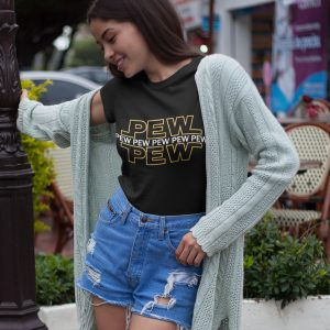 Pew-Pew-Pew-unisex-cotton-poly-crew-black-model
