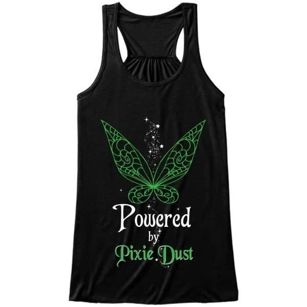 Powered-by-pixie-dust-frontPrint-ladies-flowy-tank-black