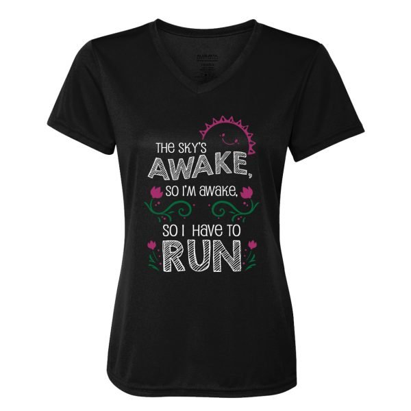 Skys-awake-so-i-have-to-run-ladies-performance-vneck-black