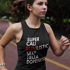 Supercalirunalistic-ladies-flowy-tank-top-black-model-2