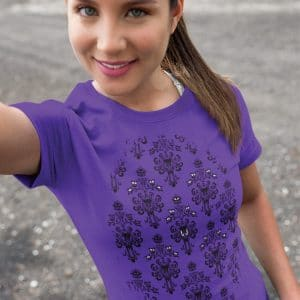 Magically-Haunted-unisex-tee-Purple-model