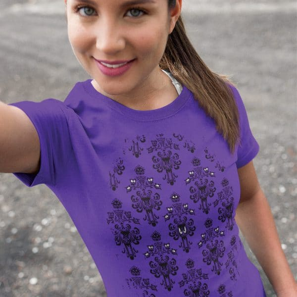 Magically-Haunted-unisex-tee-Purple-model