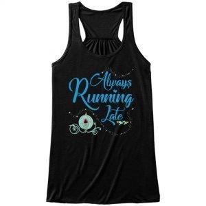 Always-running-late-ladies-flowy-tank-black