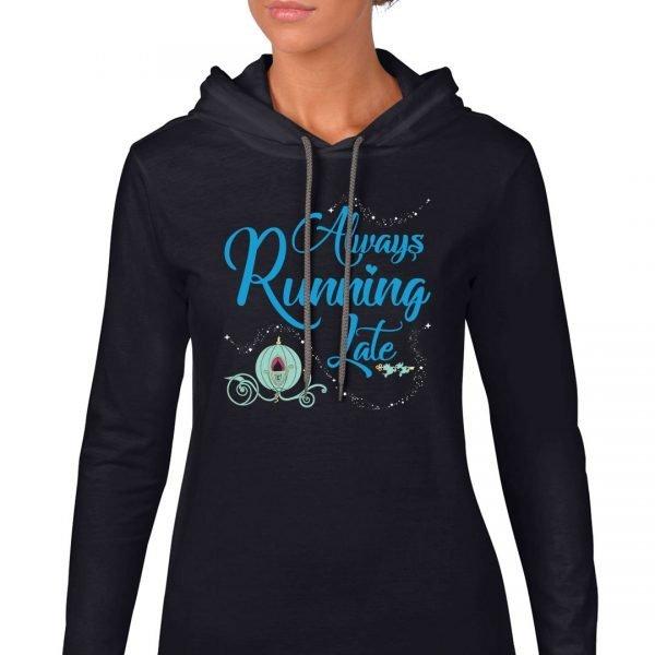 Always-running-late-ladies-lightweight-hoodie-black